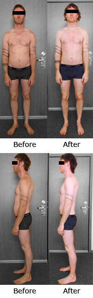 Before and After photos of one of Jesse's clients